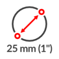 1 Zoll Durchmesser